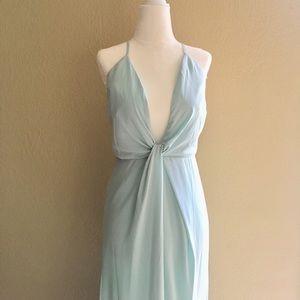 Tobi mint long dress with plunging neckline